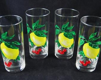 """Lemon and Cherries Glasses, Set of 4, 6.5"""" tall, Enamel Handpainted,  Lemonade, Water Glasses"""