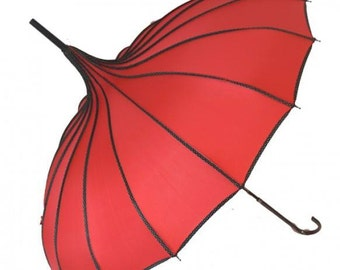 Red ribbed Pagoda style umbrella. Edwardian umbrella, red umbrella, wind, sun, and rain umbrella.