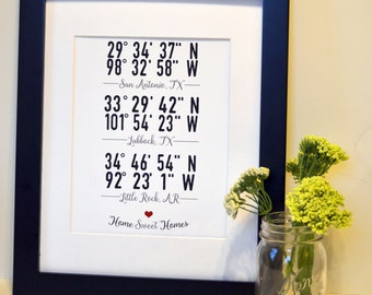 Gift for military families 11x14 Coordinates art Custom housewarming gift Anniversary gift for husband Birthday gift for wife New home gift