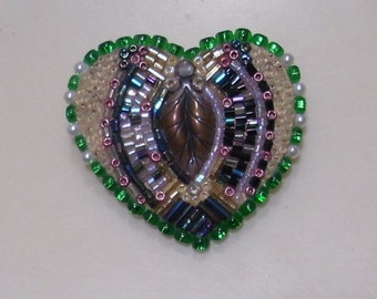 Bead mosaic heart leaf pin. One of a kind.