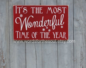 Christmas Wall Art - Rustic Wood Signs - Winter Wall Art - It's The Most Wonderful Time Of the Year - Wall Hanging Decor - Holiday Decor