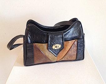 Vintage Groovy 1970s Pleather Vegan Leather Purse Black Colorblock Retro Boho