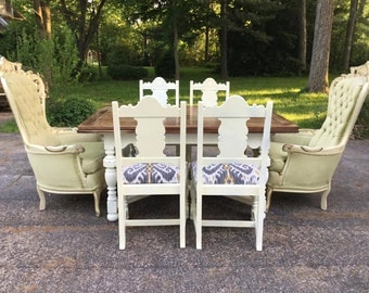 Farmhouse Berkey and Gay Antique Dining Table and 4 side chairs