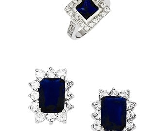 Sterling Silver Blue Earrings and Ring Set