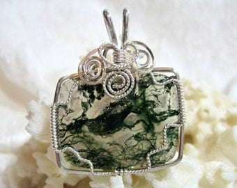 Moss Agate Pendant Rectangle East West Design Solid 935 Sterling Silver Argentium Anti Tarnish Wire Wrapped