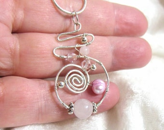 Pink Pearl Pendant, Rose Quartz Pendant, Freeform Pendant Sterling Silver 935 Wire Wrapped in Argentium Anti Tarnish