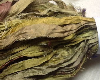 Olive Green Sari Silk Ribbon for Jewelry and Rug Hooking Projects