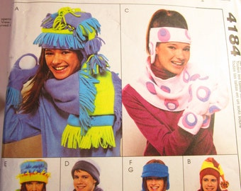 Unisex Fleece Hat, Mittens, Scarf. Headband, Cowl, and Visor: McCalls Pattern 4184 for Teens and Adults