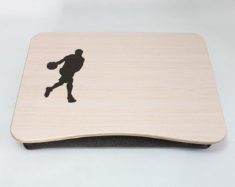 Laptop Bed Tray / Basketball Gift / iPad Table / Serving Tray / Breakfast Tray / Pillow Tray / Wooden Laptop Stand Basketball