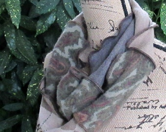 Infinity Scarf - Recycled Cashmere & Wool - Circle Circular Loop - Women's Fashion Online - Upcycled Clothing - Earth Tones - Reworked