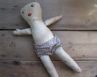 Antique Rag Doll Vintage Primitive Doll 1940s
