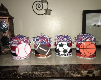 Sports Diaper Cake Minis/Sports Baby Shower Centerpieces Or Decorations/Baseball  Baby Shower/