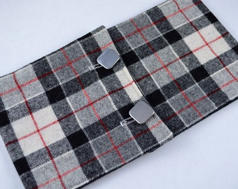 Wool Black and White Plaid Fleece Lined Buttoned Cowl