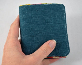 Blue Linen Simple Bifold Wallet