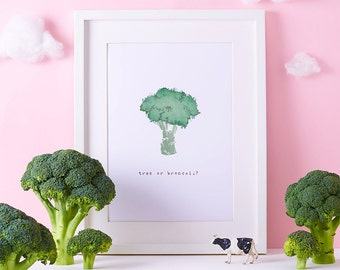 Kitchen Print - Broccoli Art - Foodie Illustration - Vegetable Art Print - Broccoli Drawing - Food Art - Funny Kitchen Art - Veggies Print