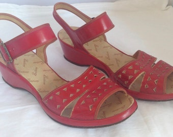 RESERVED - 1940s red leather wedge heel sandals - AU 7 / EU 37