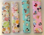 Tsum Tsum Seat Belt Cover, one, pink/blue/white w/ pink or blue,  Free Shipping, padded
