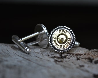 Bullet Cuff Links, Bullet, Recycled Bullet Cufflinks, Mens Cufflinks, Brass, Sterling Silver