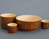 Hornsea bronte set , egg cups (2) bowl and sugar bowl / cup 1970s retro England