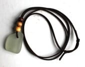 beach jewelry white sea glass surfers necklace vegan friendly faux leather brown cord wood beads