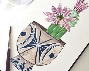 Potted Cactus Flowering Plant Art Print