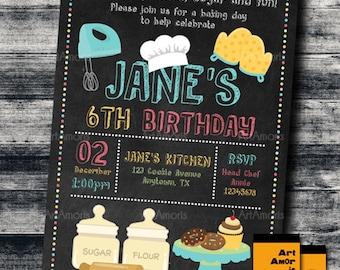 Baking Birthday Invitation, Baking Invitation, Cooking Invitation, Little Chef Invitation, Chalkboard Bake Shop Cookie Decorating Party R-13