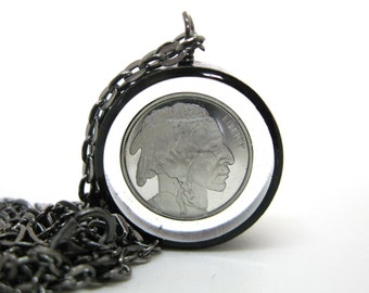 Buffalo Silver Round - Genuine 1/10 oz Silver Round in open back black copper bezel - Resin Necklace - Resin Jewelry - Copper Pipe Jewelry
