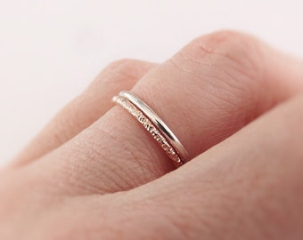 stacking ring set. mixed metal stacking rings. cz diamond