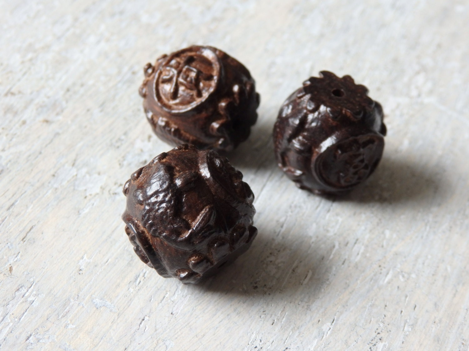 Three carved chinese koi beads large carved wooden beads for Koi fish beads