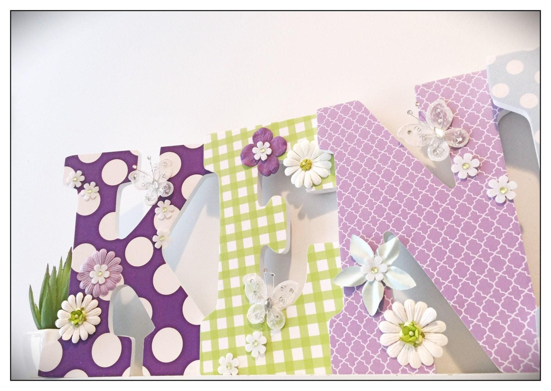 Baby Girl Nursery Decor. Butterfly. Wood Letters. Purple