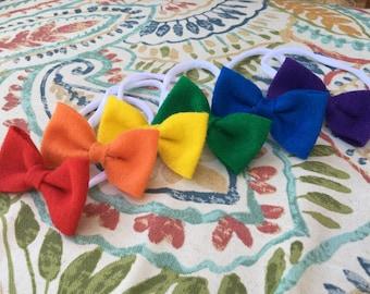 a rainbow of bows felt bow set
