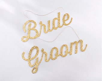 Bride Groom Sign Wedding Chair Signs Classic Gold Glitter Bride Groom Chair Wedding Reception Chair Signs Chair Signs