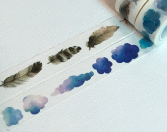 1 Roll Limited Edition Washi Tape (Pick 1): Feathers or Clouds