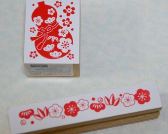 Japanese Traditional New Year Greeting Stamp (Pick 1)-Gourd  Or Flowers