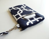 iPhone 6, 6 Plus Wristlet, Cell Phone Zip Pouch, Phone Purse, Protective Sleeve, Navy Blue Chainlink, Great Gift