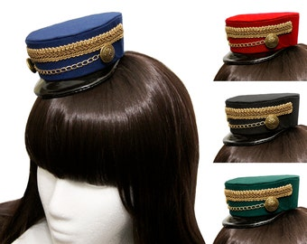 Mini Train Conductor Hat with Gold or Silver Detail - 12+ Colors Available