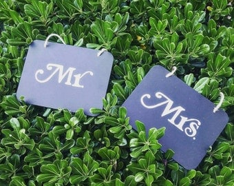 Mr. And Mrs. Signs, Wedding Chair Signs, Chalkboard Wedding Signs, Wedding Signs, Rustic Wedding Decor, Chalkboard Wedding Decor