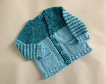 Teal baby cardigan | hand knitted aqua blue striped sweater 0 to 4 months | baby knitwear