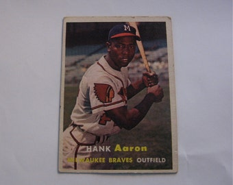 Hank Aaron  Milwaukee Braves Outfield  Topps 20  baseball card in excellent condition 1956 season