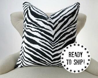 "Ready to Ship! Black Pillow Cover, Black and White Decor, Zebra Print Throw Pillow, Tunisia by Premier Prints, for a 18x18 20x20"" pillow"