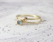 9ct yellow gold rings - set of 2 - stacking gold rings - Orbit Collection - Labradorite ring