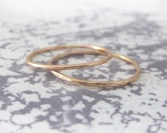 Rose Gold Knuckle Ring - 9ct Rose Gold Ring - Skinny Ring - Thin Ring - Midi Ring - Mid Finger Ring