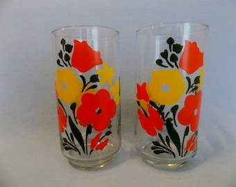Vintage MOD GLASS Tumblers * Glass Flowers * Glass Beverage Tumblers with Flowers * Glass FLOWER Tumblers * Glass Set * 16 oz.