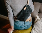 ANT GREY hip bag / natural leather strap / cotton small bag