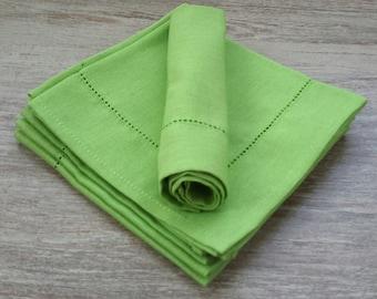 linen green napkins - light green napkins - spring green napkins - light green wedding - linen napkins set - green cloth napkins