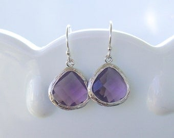 Amethyst Earrings in Silver - Purple Drop Earrings - February Birthstone - Sterling Earwire - Faceted Jewel - Purple Bridesmaid Jewelry
