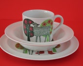 """Adorable and highly sought after """"Lammas"""" """"Lamb""""  pattern complete childrens dinner set  by Arabia Finland"""