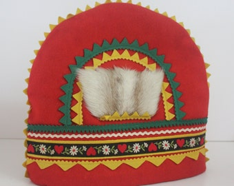 "Vintage Lappish theme ""pannymyssy"" coffee/ tea pot cosy/ warmer"