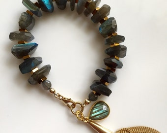 Freeform Faceted Labradorite Statement Bracelet
