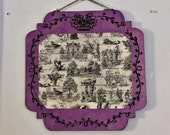 Shabby Chic Toile Decoupage Hanging Clip Frame or Note Holder